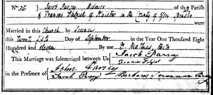 Jacob Parsey and Frances Dalzell Marriage Register Entry 1811